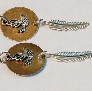 Brass Circle & Silver Bird & Feather Boho Earrings